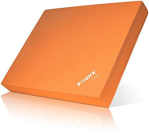 POWRX Balance Pad in gommapiuma (40 x 34 x 5 cm) - Ideale per Esercizi di »Functional Fitness«, Fisioterapia, Pilates e Yoga - Cuscino in Morbido TPE - Superficie Antiscivolo + PDF Workout (Orange)
