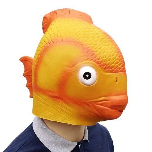 Dodom Lustige Goldfisch Latex Maske Fischkopf Maske Halloween Cosplay Kostüm Prop Festival Party Supplies Neue Requisiten Maske, Gelb