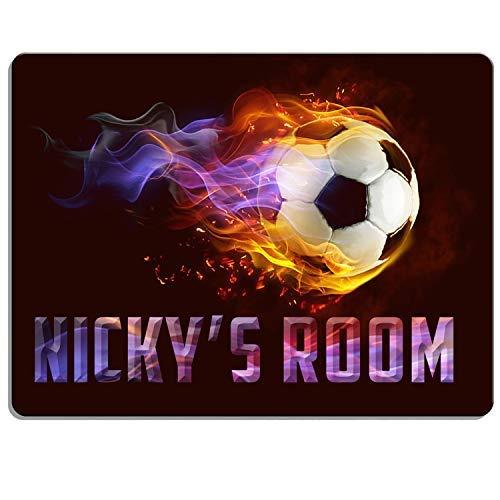 KRAFTYGIFTS FOOTBALL Boys Bedroom Door Sign Personalised Children's Child Room Kids Plaque Name KD28