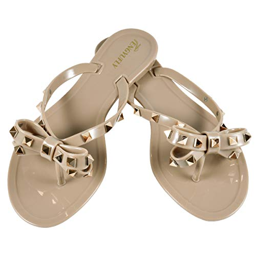 TENGYUFLY Womens Rivets Bowtie Flip Flops Jelly Thong Sandal Rubber Flat Summer Beach Rain Shoes Dark Nude