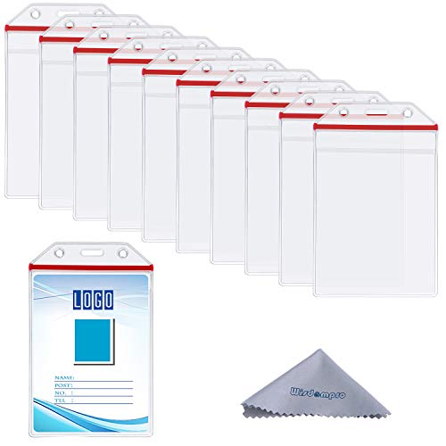 10 Pack Vertical Heavy Duty Clear ID Badge Holder Card Holder with Resealable Zip for Multiple Cards (Vinyl PVC) by Wisdompro - Red Zip