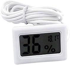 Auntwhale Termómetro digital LCD 1 pieza Sonda higrómetro para reptil Mini higrómetro embebido del termómetro blanco