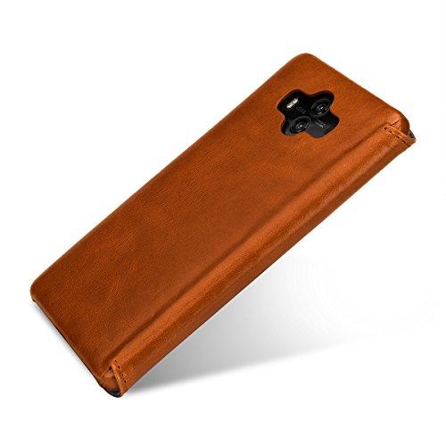 keledes kompatibel mit Huawei Mate 10 Hülle aus Echtem Leder,Brieftasche Flip Case mit Karten-Fächern, Cognac Braun - 5