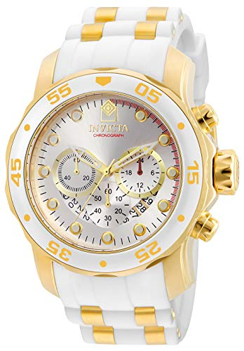 Invicta Men's Pro Diver Stainless Steel Quartz Watch with Silicone Strap, Gold, White, 26 (Model: 20291)