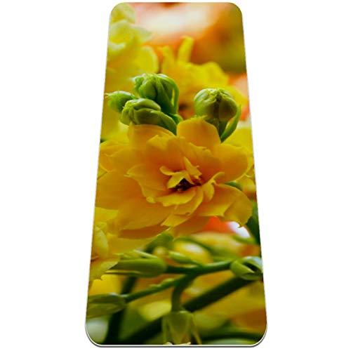 Hermosa alfombra de yoga de flores amarillas gruesa antideslizante para mujeres y niñas Yoga | Pilates | ejercicios de suelo, (72 x 24 pulgadas, 1/4 pulgadas de grosor)