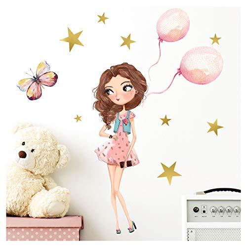Little Deco Wandtattoo Mädchen Kinderzimmer Ballons und Schmetterling I 78 x 61 cm (BxH) I Kinder Aufkleber Wandaufkleber Wandsticker Stickers DL207-24
