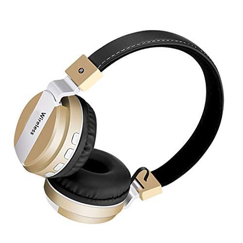Wsaman Cascos Inalambricos Bluetooth 5.0 Auriculares, Auriculares De Estudio con Cancelación de Ruido, para Correr, Auriculares Inalámbricos de Diadema,Oro