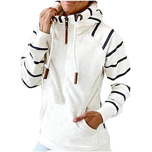 여성 패션 지퍼 TURTLENECK 후드 탑 캐주얼 스트라이프 컴파비 긴 소매 포켓 후드 셔츠 여성용