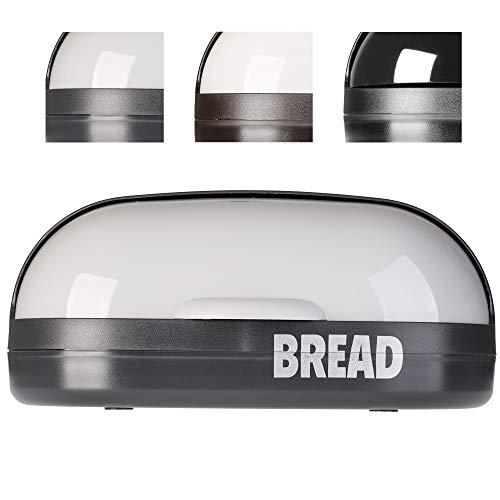 KADAX geräumiger Brotkasten aus Kunststoff, 37 x 20 x 16 cm, moderner Brotbehälter mit Rolldeckel, längere frische des Brotes, Rollbrotkasten mit Frontklappe, Brotbox (Grau)