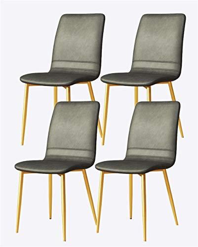YF Juego de sillas de comedor impermeables de 4 piezas, sillas de ocio con patas de metal y respaldo de piel sintética, aptas para cocina, comedor, sala de estar y dormitorio (color: patas doradas)