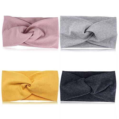 Paquete De 4 Diadema para Mujer Banda para El Cabello Suave Y EláStica Turbante De AlgodóN EláStico Banda Ancha para El Cabello PañUelo para La Cabeza Banda Ideal para Deportes/Correr/Yoga