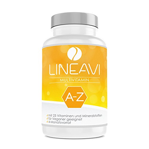 LINEAVI Multivitaminas, concentrado de 23 vitaminas y minerales de la A a la Z, contribuye a la función del sistema inmunitario, fabricado en Alemania, 120 cápsulas veganas (para 4 meses)