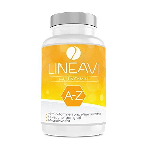 LINEAVI Multivitaminico, ad alto dosaggio, con 23 vitamine e minerali, dalla A alla Z, per la funzionalità del sistema immunitario, made in Germany, 120 capsule vegane (conf. scorta per 4 mesi)