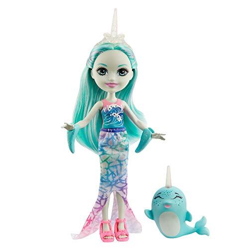 Enchantimals mini-poupée Naddie Narval et figurine animale Sword, avec jupe sirène, nageoires et chaussures, jouet pour enfant, GJX41