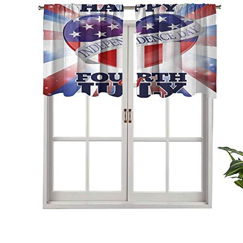 Hiiiman Cenefas de cortina con bolsillo para barra, cortinas coloridas para la celebración de la independencia de los Estados Unidos, juego de 1, 127 x 45 cm para ventana de cocina