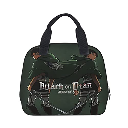 Attack on Titan Lunch Bag Tote Bag Tough & Spacious Lunchbox Reusable Insulated Cooler Lunch Container for Women Men Adults College Work Picnic Hiking Beach Fishing (Anime)
