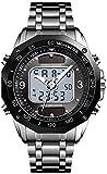 JSL Solar doble pantalla electrónica reloj puntero correa de acero reloj deportivo multifunción reloj electrónico-Silverblack