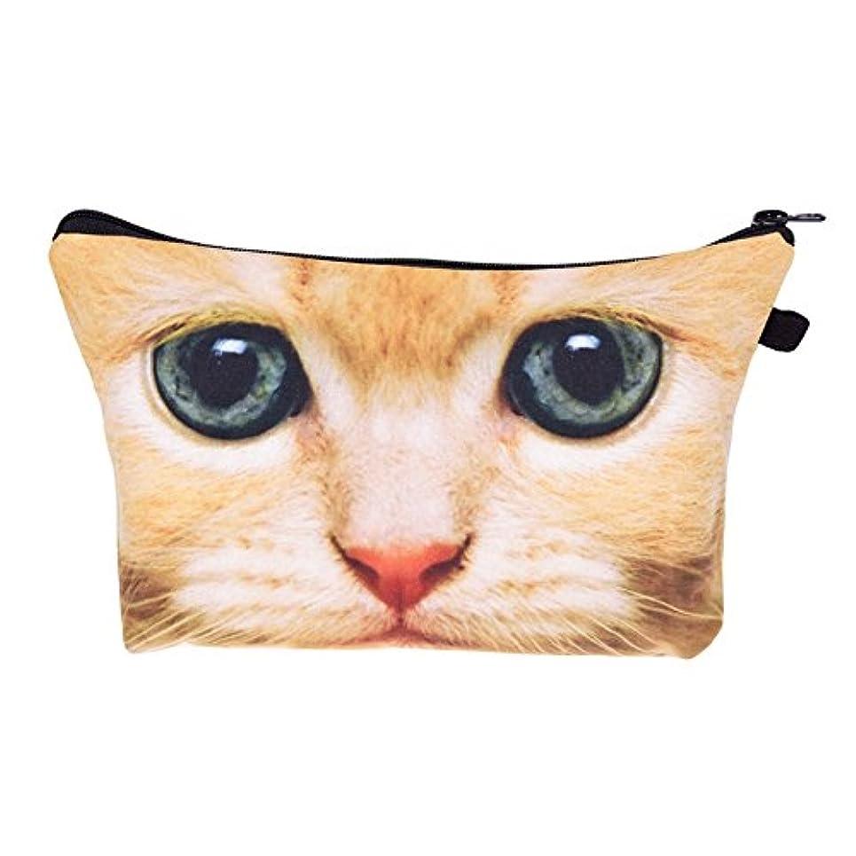 想像力豊かなオーガニック確かに化粧バッグ 化粧ポーチ 収納ケース メイクバッグ 化粧収納バッグ 折畳式 携帯型便利 容量大きいかわいいお洒落 旅行軽量 猫柄 (ブラウン)
