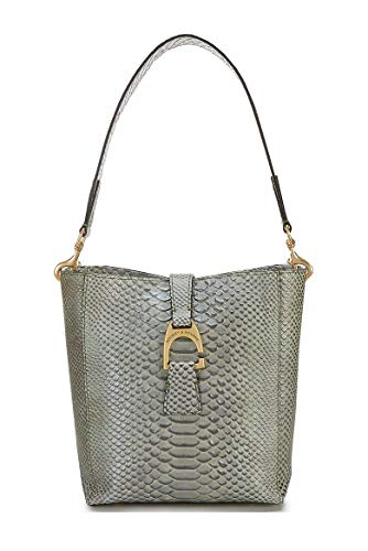 """Croc Embossed Leather Top dog hook closure, Strap drop length 11"""" Gold-plated Italian hardware, Protective feet One outside pocket. One inside zip pocket. Inside zip pocket. Inside key hook Approx. 10.75""""H x 4.75""""W x 9.25""""L"""
