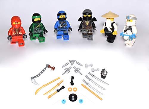 Lego Ninjago Figuren Alle 5 Ninja und Meister Wu ( Grüner Ninja Blauer Ninja Schwarzer Ninja Weisser Ninja und Roter Ninja ) und bmg2000 Aufkleber