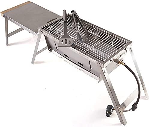 RidgeMonkey Grilla BBQ 65x22x30cm - tragbarer Grill zum Angeln, Angelgrill, Edelstahlgrill zum Ansitzangeln, Grillplatte