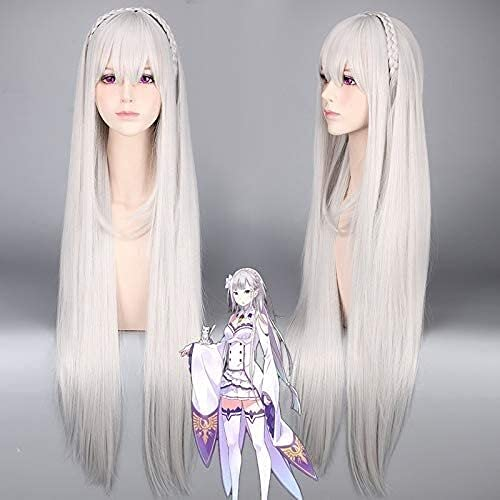 Vida en un mundo diferente desde cero Re: Zero Kara Hajimeru Isekai Seikatsu Emilia Cosplay WIG GRIS LONG BRAID DE TRAJE DE PELES DE PELO ANIME