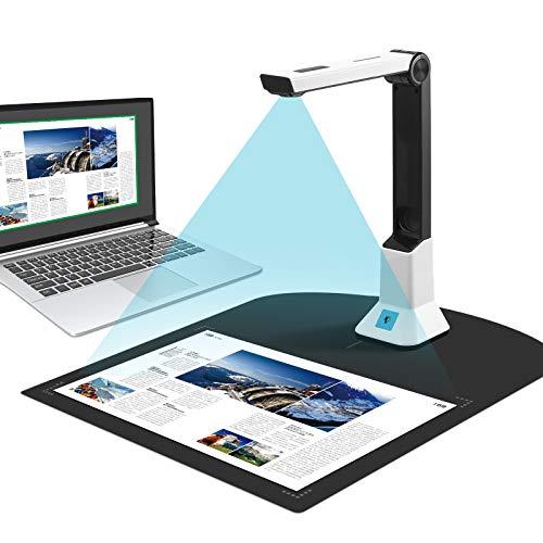 Dokumentenscanner tragbar, hochauflösende tragbare Dokumentenkamera für Lehrer, Buchscanner, A4-Scan-Größe für Klassenzimmer, Büro, Bibliothek, Bank, Dokumentenerkennung