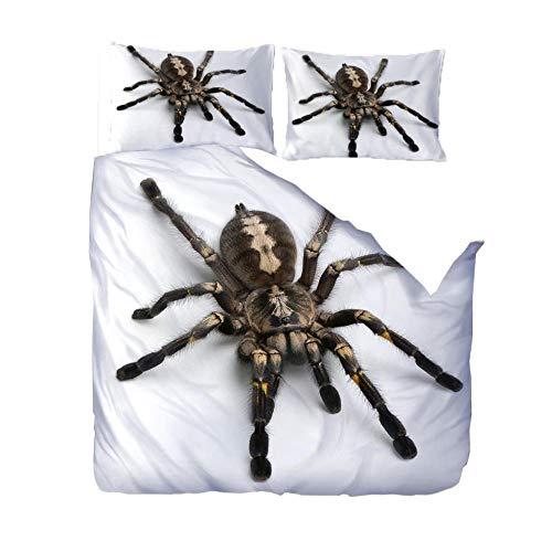 CLRJ Bettwäsche Bettbezug Set, Spinne 3 Teilig Bettgarnitur Bettwäsche - Set Gemütlich 3D Mikrofaser mit Reißverschluss 1 Bettbezug + 2 Kissenbezug 135 x 200 cm