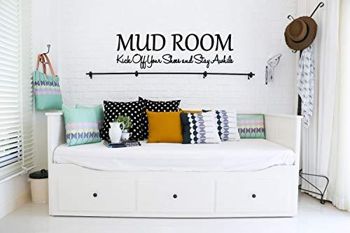 Slammkamer Trek je schoenen uit en blijf een tijdje vinyl sticker badkamer decor modder kamer muur tattoo modder kamer muur kunst modder kamer vinyl