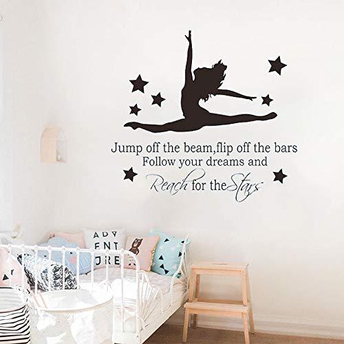 yaonuli Gymnaste Gymnastique Danseur de Ballet Sticker Mural Autocollant Inspiration Citation inspirante Vinyle autocollant67X63cm