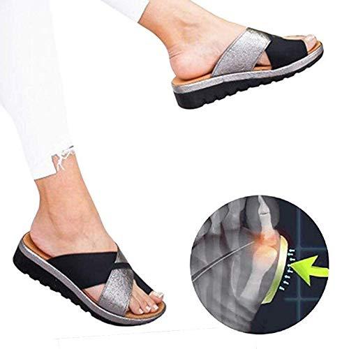 Plataformas Sandalias Mujer Plana Cuero PU Zapatillas