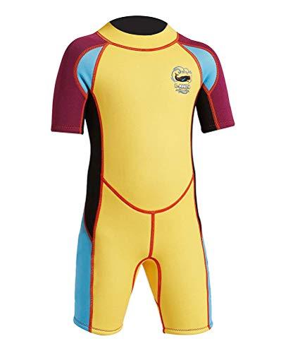 Daoba Jungen Mädchen Kinder Neoprenanzug 2.5MM Neopren Kurzarm Wäremehaltung UV-Schutz Tauchanzug Badeanzug für Wassersport