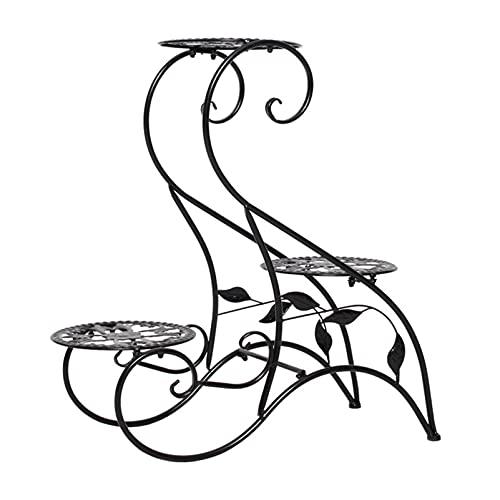 Soporte de metal para plantas, 3 niveles, soporte para macetas de flores, para interiores y exteriores, decoración de jardín, patio, color negro