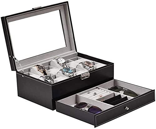 Caja de reloj de 2 capas con 12 compartimentos para exhibir joyas, tapa de cristal con cerradura, caja de almacenamiento para relojes