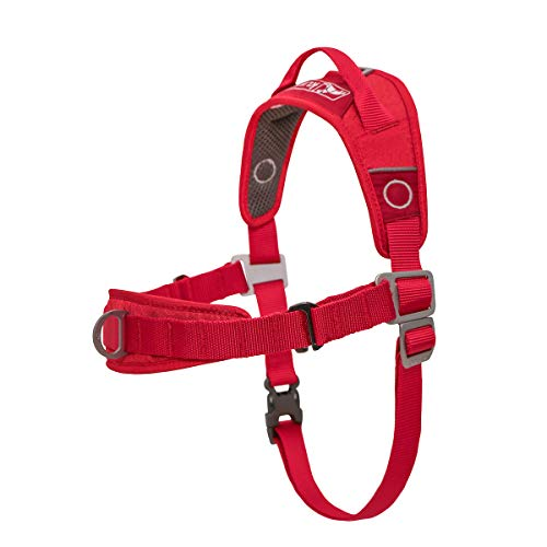 Kurgo Dog Harness | No Pull Training Pet Walking Harness | Harnesses for Dogs Or Pets | Adjustable | Reflective | Easy Control | Front D-Ring Clip | Walk About Training Harness | (Large), Chili Red