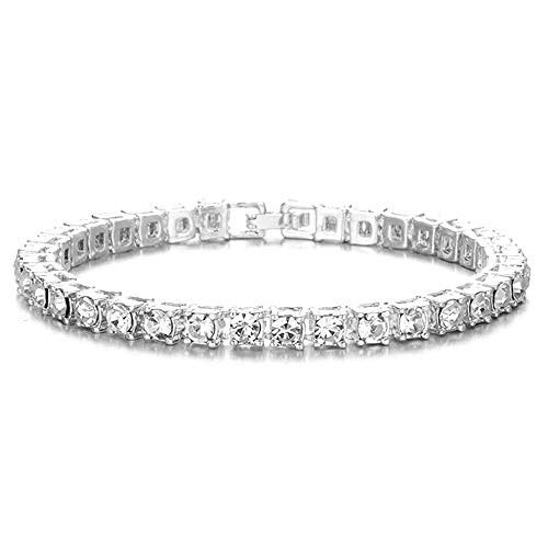 Silver Gold Tennis Bracelet for Men,Iced Out Diamond Tennis Bracelet for Women,Classic Tennis 7-9 Inches (1 Row / Silver, 7)