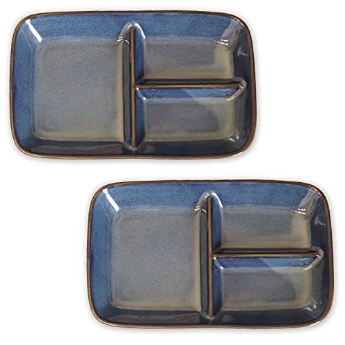 窯変ネイビー仕切りプレート 2枚セット [ ネイビー/日本製 / タテ15.2×ヨコ24.3cm ] 仕切り 角型 プレート ランチプレート 深い 深め (電子レンジ・食器洗浄機対応)