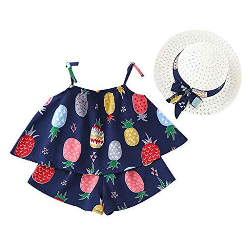 Honestyi Ensembles de Bébé Filles Robe de Princesse Mignon Costume de Jupe Mode Fruits Imprimer Camisole T-Shirt Volante + Shorts Dessin animé + Chapeau 3 Pièces Vêtements pour 6 Mois -5 Ans
