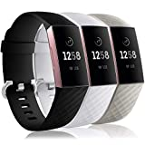 Wepro Waterproof Bands Compatible with Fitbit Charge 4 / Charge 3 / Charge 3 SE for Women Men, 3-Pack Replacement Wristbands for Fitbit Charge 3 / Charge 4, Small, Black, White, Gray