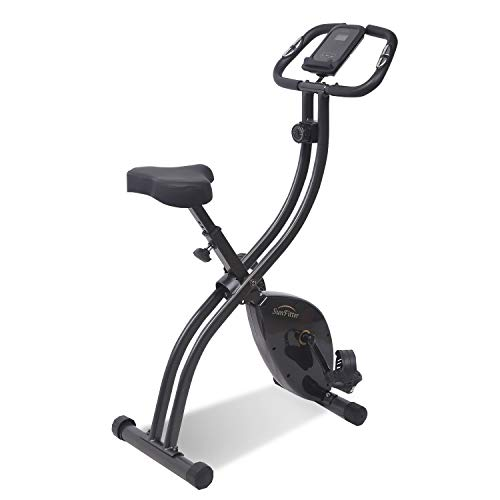 SunFitter Folding Exercise Bike Fitness Indoor Cycling Bike Upright Stationary Bike Slim Cycle Trainer Home Use for Women Men