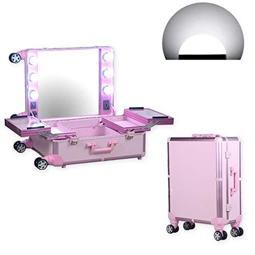 Ali@ Trousse à Maquillage Beauté 21 Pouces, Trousse à Roulement à roulettes Enfichable à Gradation LED, BoîTe De Rangement pour Outil De Beauté, Trousse DéTachable à Maquillage