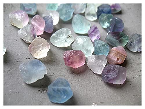 YSJJSQZ Cristal áspero Fluorita Natural Curación áspera Piedra Verde Azul Colorido Cristal Mineral DIY Haciendo Collar Pulsera Beads ha Sido golpeado (Color : Random Color, Size : 10-12mm)