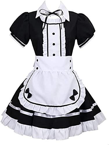 TSUSF Disfraz De Sirvienta Disfraz De Sirvienta Francesa,Vestido Negro De Manga Corta con Delantal Blanco Y Gorro,Disfraz para Adultos,Juego De Disfraces para Cosplay (Size : 4XL)