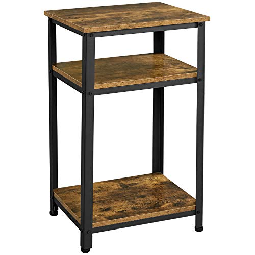 Yaheetech Side Table Rustic Industrial End Telephone Table with 3-Tier Shelves for Small Spaces Living Room Bedroom Guest Room, Rustic Brown