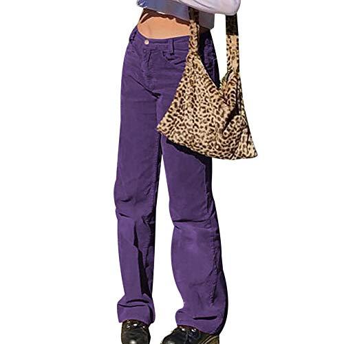 Damen Cordhose gerade hohe Taille Casual Weite Bein Loose Hose Cordhose Gr. 34-36, violett