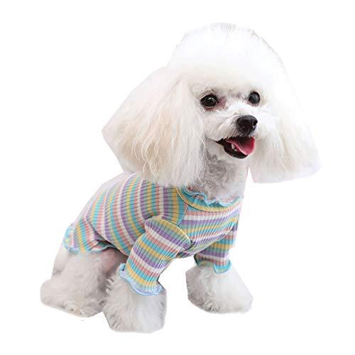 Coversolat Hundekleidung Kleine Hunde Hundepullover Chihuahua Regenbogen Streifenshirt Kurzarm Dünne Sweater Hundekostüm Katzen Hunde Kleidung