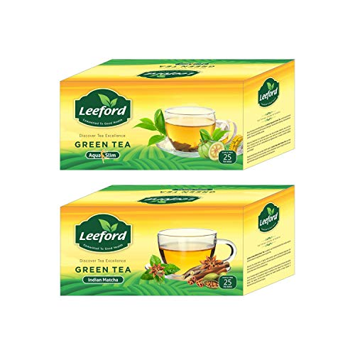 Leeford's Green Tea Aqua Slim and Indian Matcha Flavour For weight Loss and Good Health Combo Pack of 2 (25 Bags Each Pack)