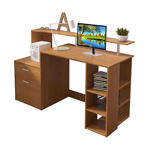 Outwin Corner Desk Folding Wood Computer Desk with Drawers/Shelves Storage, Modern Home Office Study...