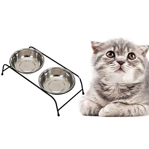 MOLOVET ペットボウルスタンドセット ステンレス製 餌入れ エサ入れ ごはん皿 お水入れ 猫 犬 (ステンレス 26.5*13.3*6.3cm)