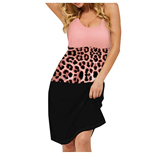 YWLINK Vestido De Tirantes para Mujer Falda Larga con Cuello De Pico Y Costuras Falda De Cadera con Estampado De Leopardo Vestido Sin Mangas Sexy Vestido De CóCtel Clubwear Dress (Pink, XL)